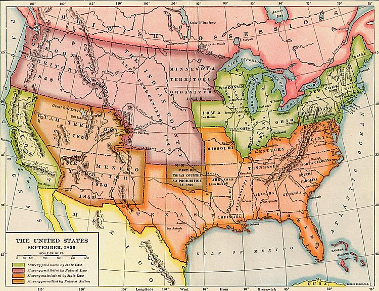 Slave And Free States In 1850