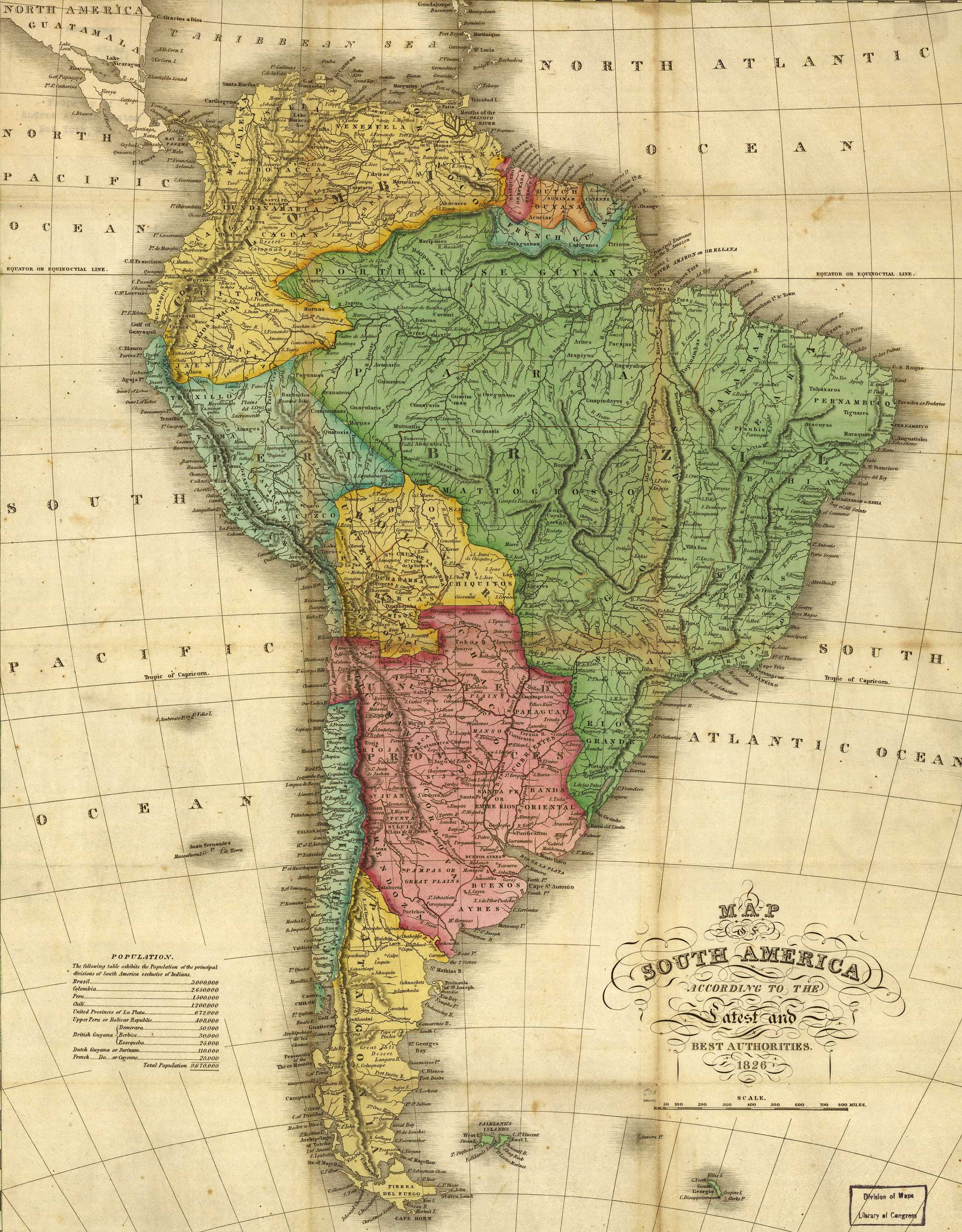 maps of south america