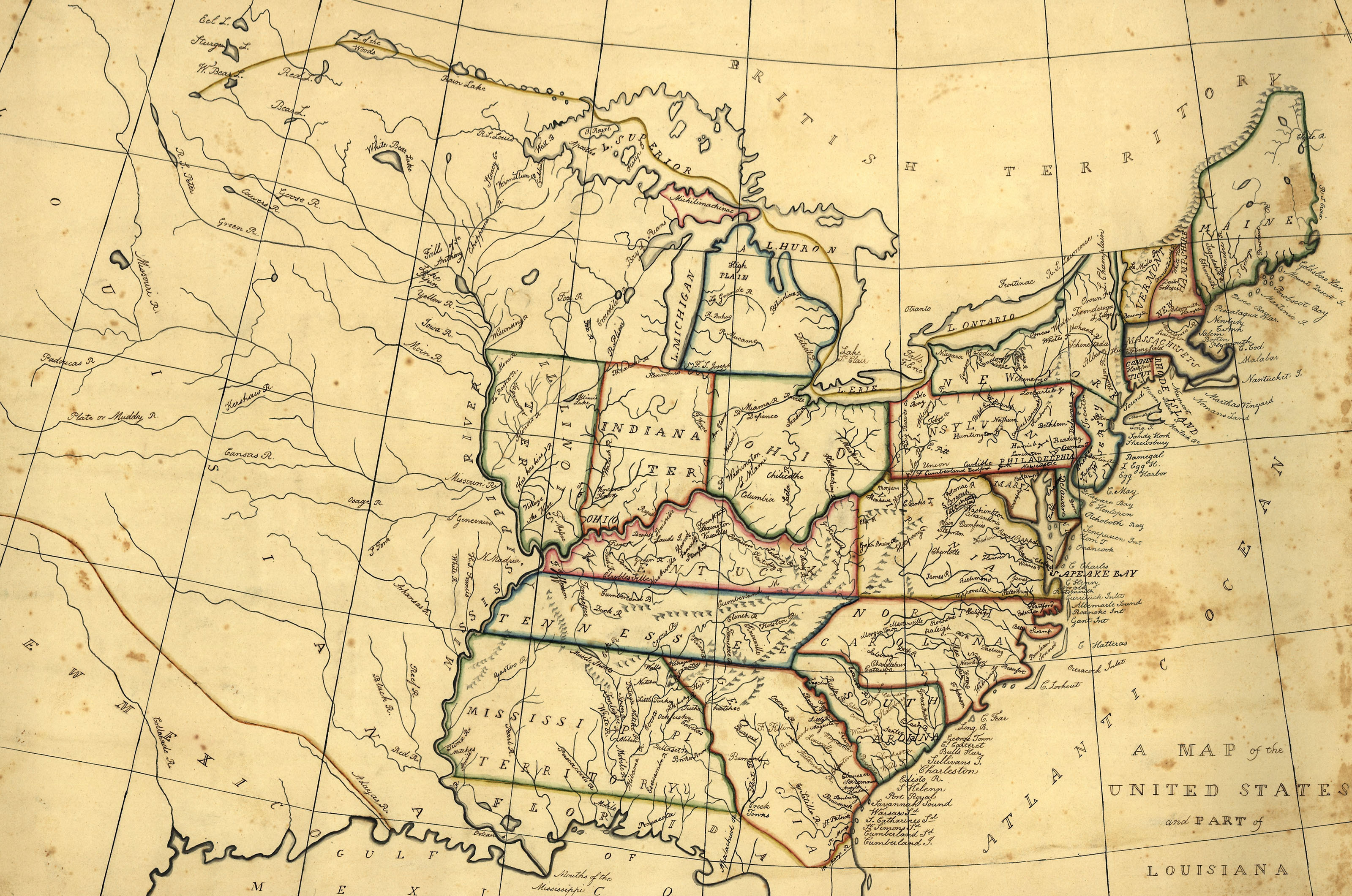 Maps Of Th Century America - Map of the us in 1800