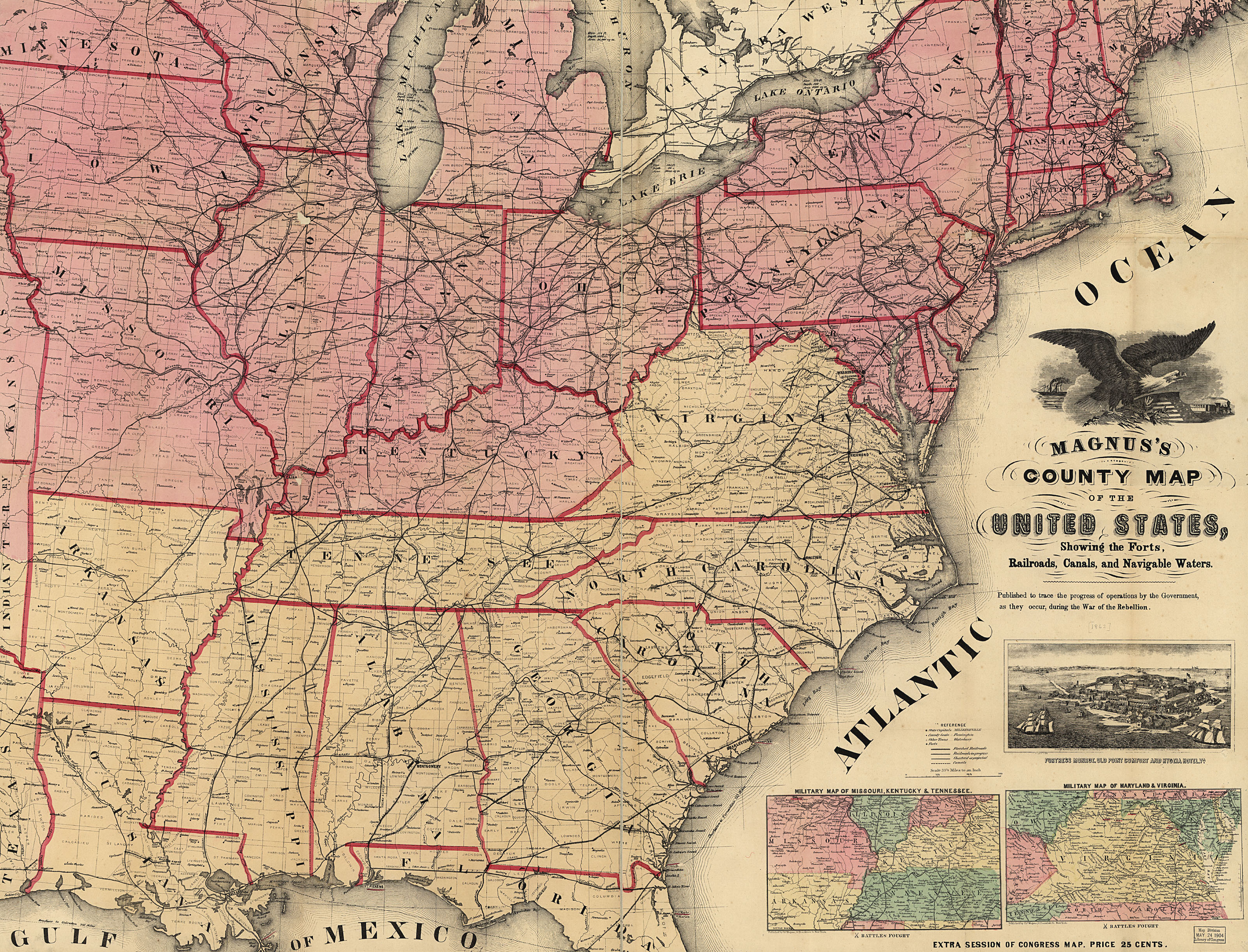 Us Map 1862 By Magnus Or