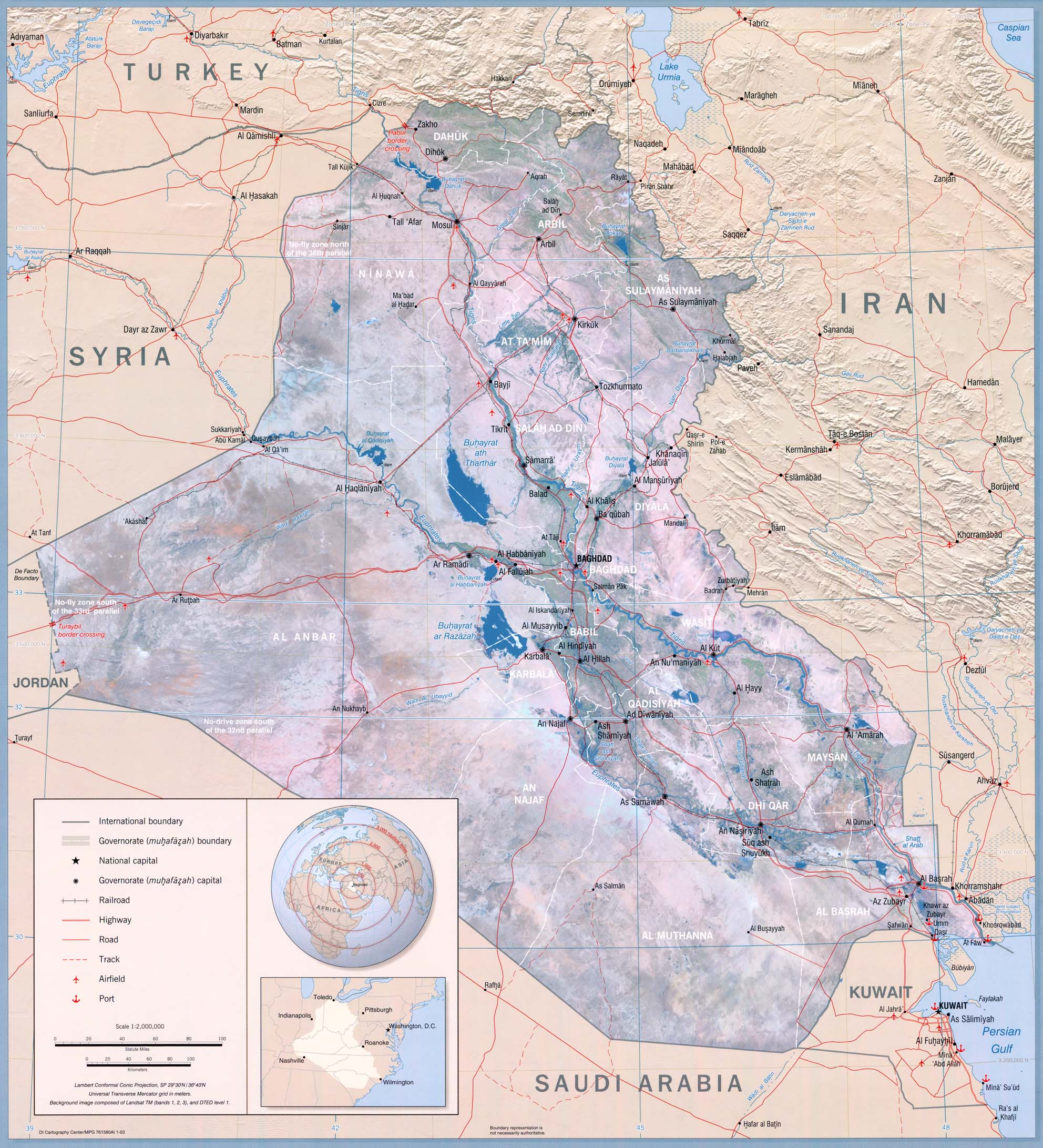 Maps Of Middle East - Middle east physical map 2003