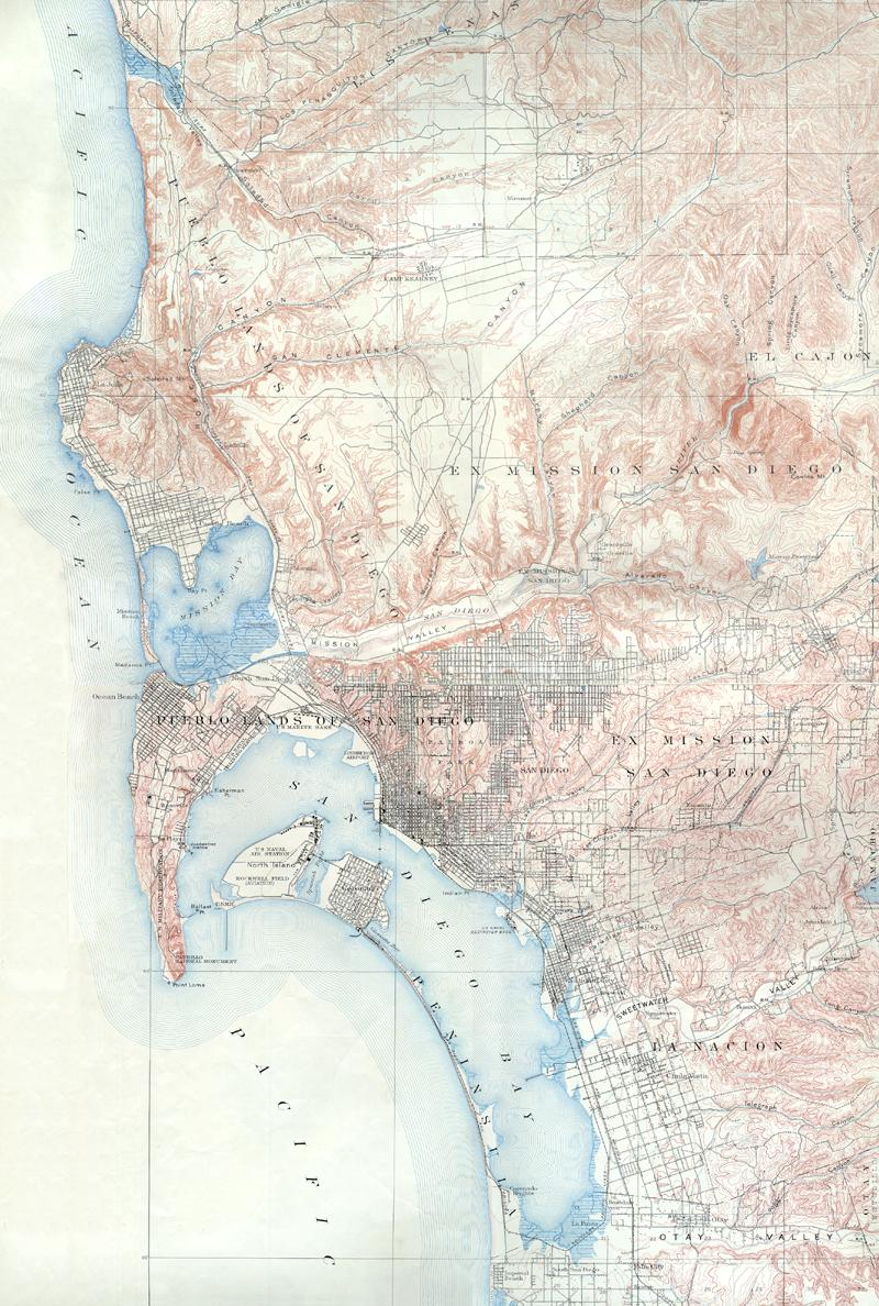 Vintage San Diego Map.Historical Maps Of San Diego