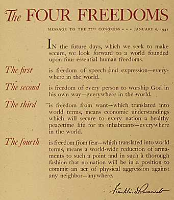 the four freedoms In the future days, which we seek to make secure, we look forward to a world  founded upon four essential human freedoms the first is freedom of speech and .